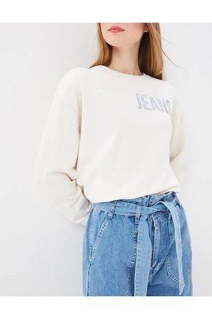 Pepe Jeans Ženy Mikiny bez kapuce - Dámská smetanová mikina Mickey