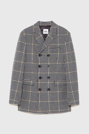 Zara Dvouřadý kostkovaný tříčtvrteční kabát