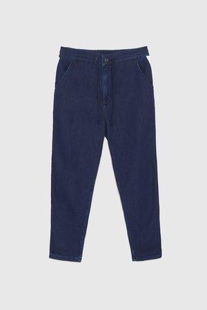 Zara Džínové kalhoty chino s postranními pruhy