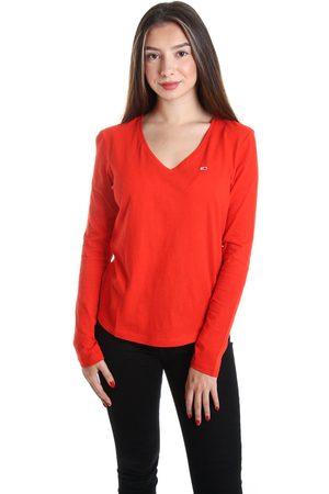 Tommy Hilfiger Dámské červené tričko s dlouhým rukávem