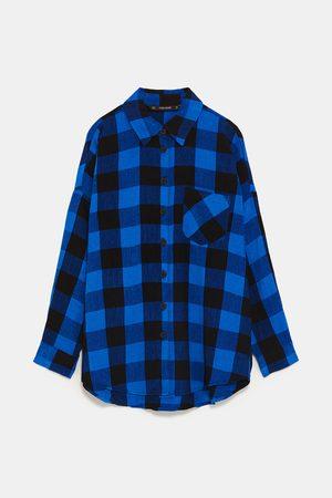 Zara Kostkovaná košile oversize z mikro manšestru