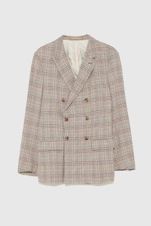 Zara Dvouřadé kostkované oblekové sako