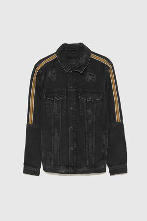 Zara Džínová bunda s roztrháním a postranním pruhem