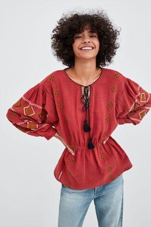 Zara Krátká tunika s výšivkami