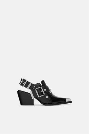 Zara Kotníčkové boty s volnou patou cowboy a kovovými aplikacemi