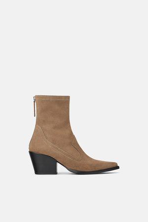 Zara Kotníčkové boty ze štípaného semiše s podpatkem typu cowboy