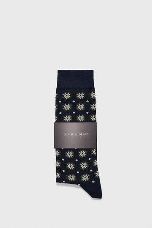 Zara Ponožky z mercerizované bavlny s květy a puntíky