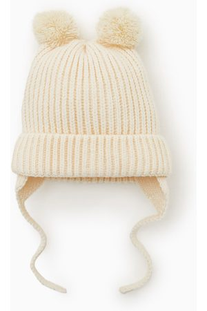Zara žebrovaná čepice s bambulkami