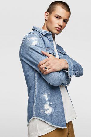 Zara Džínová svrchní košile s roztrháním