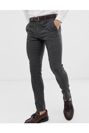 ASOS Muži Společenské - Wedding super skinny suit trousers in charcoal herringbone-Grey