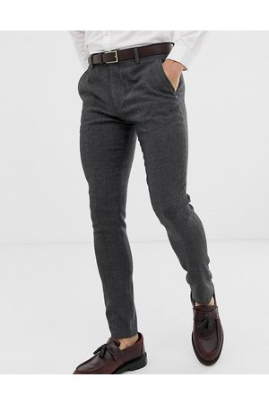 ASOS Wedding super skinny suit trousers in charcoal herringbone-Grey