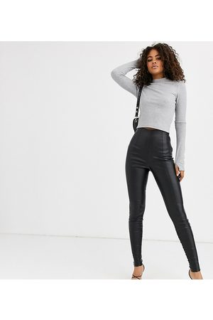 ASOS ASOS DESIGN Tall spray on leather look trouser-Black