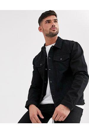 New Look Muži Džínové bundy - Regular fit denim jacket in black wash