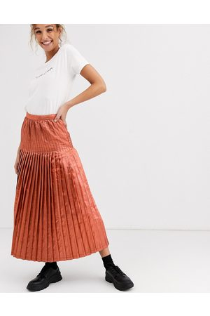 ASOS Metallic pleated maxi skirt-Pink