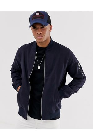 ASOS Bomber jacket with MA1 pocket in navy