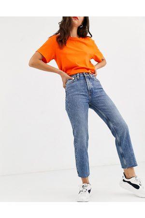 Only Ženy S vysokým pasem - Cropped straight leg jeans with high waist in blue