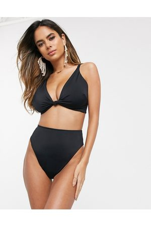 ASOS Recycled fuller bust mix and match knot front bikini top in black dd-g