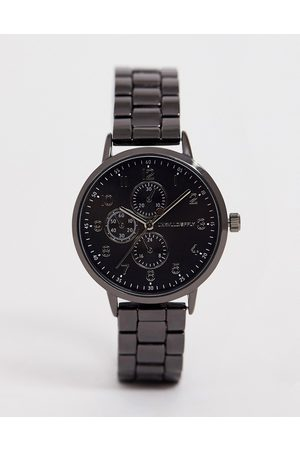 ASOS Skinny bracelet watch in gunmetal-Grey