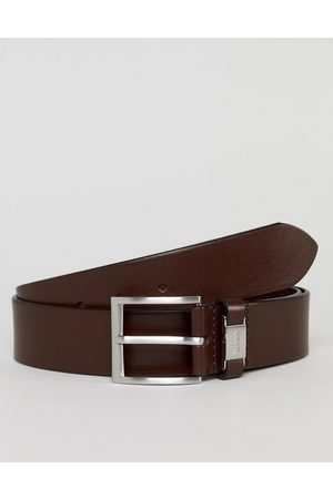 HUGO BOSS Connio leather logo keeper belt in brown