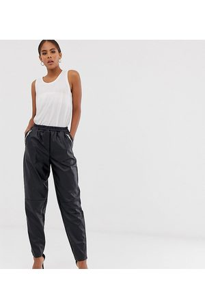 ASOS ASOS DESIGN Tall tapered leather look trousers-Black