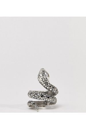 Reclaimed Vintage Inspired ring with snake design and stones in silver exclusive at ASOS