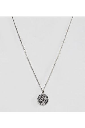Reclaimed Vintage Inspired St Christopher pendant necklace in burnished silver