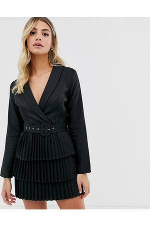 In The Style X Dani Dyer plunge front blazer dress with pleated skirt in black