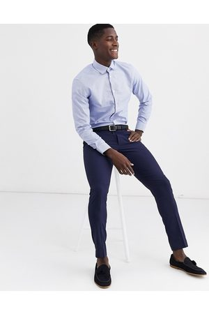 Selected Slim fit gingham shirt in blue