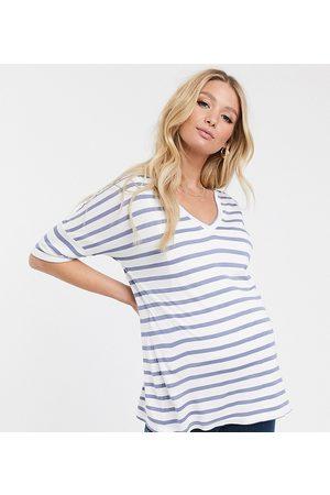 ASOS ASOS DESIGN Maternity nursing v neck t-shirt in stripe-Multi
