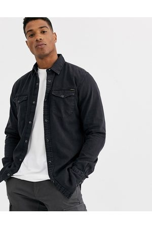 Jack & Jones Essentials denim shirt in black