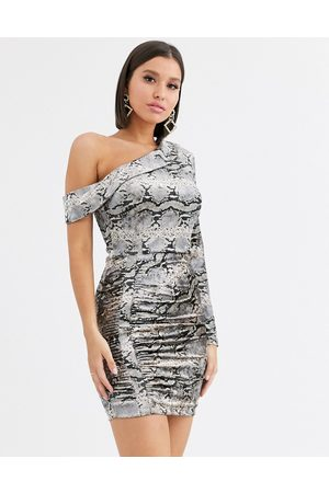 Lavish Alice Velvet one shoulder mini dress in snake print-Multi