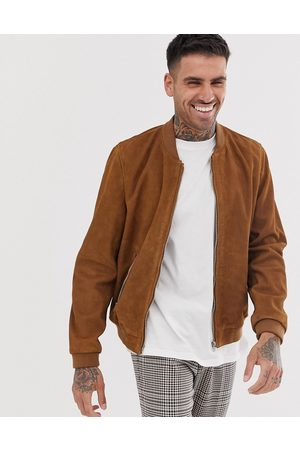 ASOS Suede bomber jacket in tan
