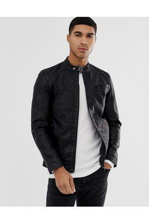 Only & Sons Muži Kožené bundy - Faux leather racer jacket in black