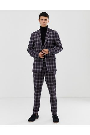 Benetton Muži Saka - Slim fit suit jacket with stretch in navy check print
