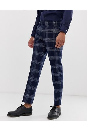 Moss Bros Moss London slim fit suit trouser in blue check-Navy