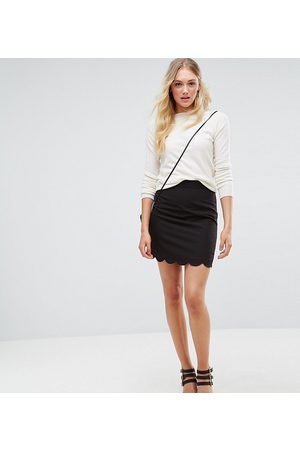 ASOS ASOS DESIGN Tall tailored a-line mini skirt with scallop hem-Black