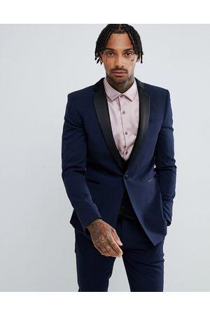 ASOS Muži Obleky - Super skinny tuxedo suit jacket in navy
