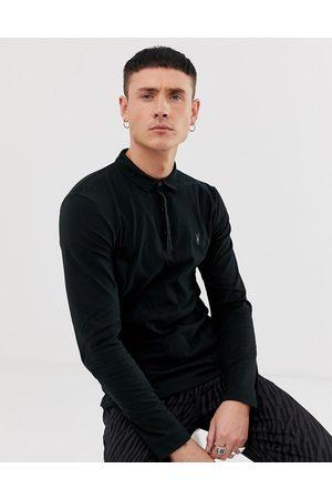 AllSaints Brace long sleeve ramskull logo polo shirt in black