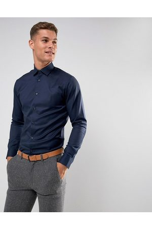 Selected Slim fit easy iron smart shirt in navy