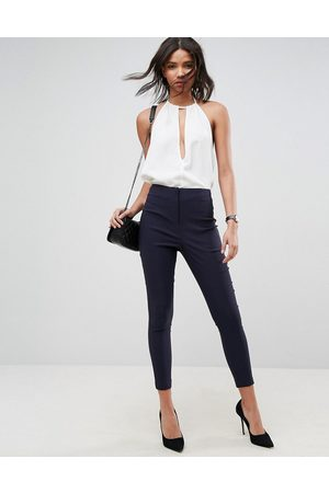 ASOS High waist trousers in skinny fit-Navy