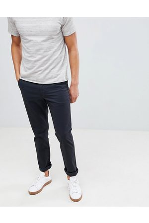 Selected Straight fit stretch chinos in black