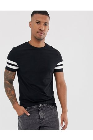 ASOS Organic skinny t-shirt with stretch and white contrast sleeve stripe in black