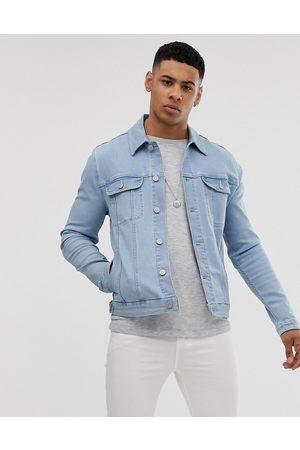 ASOS Muži Džínové bundy - Skinny western denim jacket in bleach wash-Blue