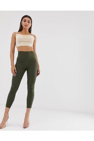 ASOS Ženy Úzké nohavice - High waist trousers in skinny fit-Green