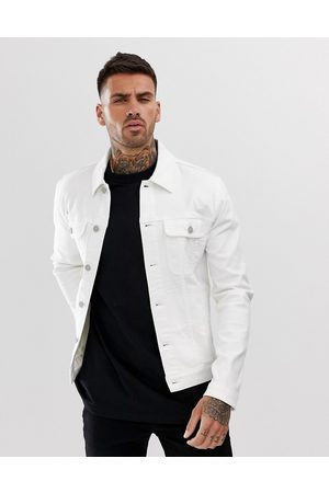 ASOS DESIGN Muži Džínové bundy - Skinny western denim jacket in white