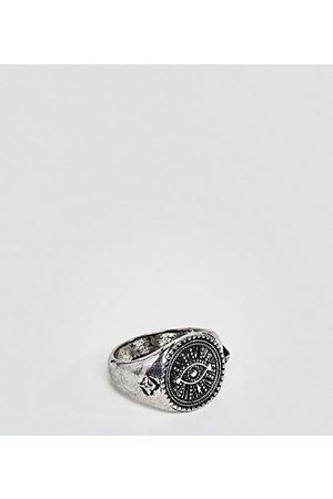 Reclaimed Vintage Inspired eye signet ring in silver exclusive to asos