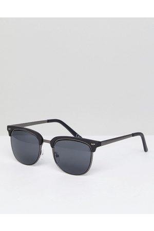 ASOS Retro sunglasses in gunmetal & matte black-Silver