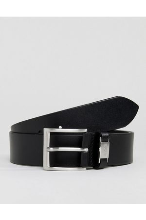 HUGO BOSS Muži Pásky - Connio leather logo keeper belt in black