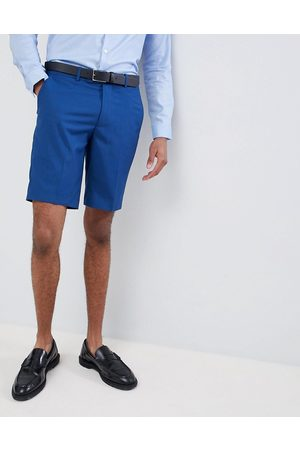 Farah Muži Obleky - Farah skinny wedding suit shorts in blue