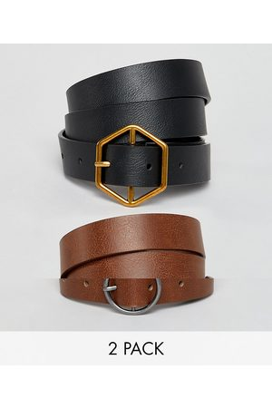 ASOS 2 pack hexagon and circle buckle waist and hip belts-Multi